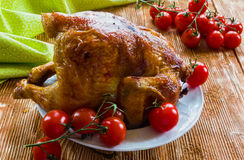 Homemade roast whole chicken. Poultry : homemade roast whole chicken with  tomatoes on wooden background Royalty Free Stock Image