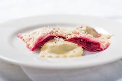 Homemade roasted beet ravioli Pasta Stock Image