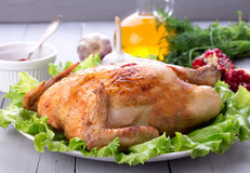 Homemade roasted chicken for festive dinner Royalty Free Stock Photography