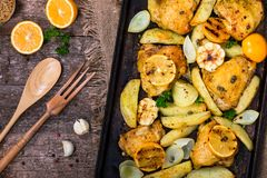 Meyer Lemon Roasted Chicken with Potatoes royalty free stock photo