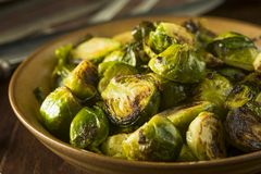 Homemade Roasted Green Brussel Sprouts. In a Bowl Stock Photography