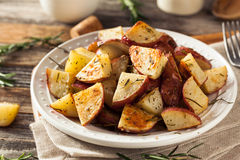 Homemade Roasted Herb Red Potatoes. With Salt and Pepper stock photos