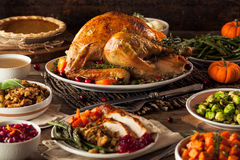 Homemade Roasted Thanksgiving Day Turkey. With all the Sides Royalty Free Stock Photography