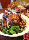 Homemade Roasted Thanksgiving Day Turkey on the holiday table royalty free stock photos