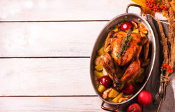 Homemade Roasted Thanksgiving Day Turkey on white wooden background. Stock Photos