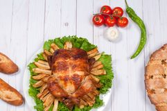 Homemade  roasted whole turkey on wooden table for Thanksgiving. Stock Photos