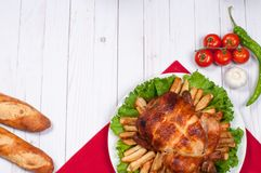 Homemade  roasted whole turkey on wooden table for Thanksgiving. Stock Photo