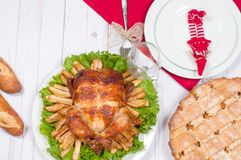 Homemade  roasted whole turkey on wooden table for Thanksgiving. Stock Image