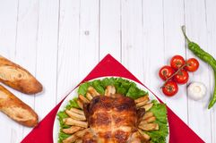 Homemade  roasted whole turkey on wooden table for Thanksgiving. Royalty Free Stock Photos