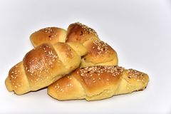 Homemade roll croissant buns royalty free stock photos