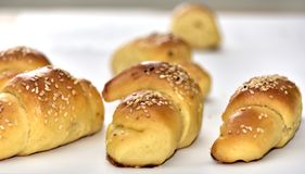 Homemade roll croissant buns royalty free stock images