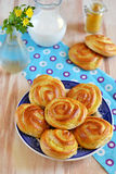 Homemade roll pastry with custard Stock Images