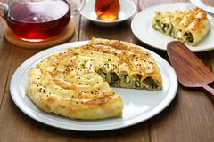 Homemade rolled borek, turkish cuisine Stock Photo