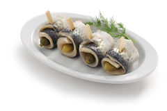 Homemade rollmops stock photography