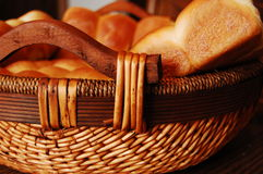 Homemade Rolls. Homemade bread rolls in a woven basket Royalty Free Stock Images