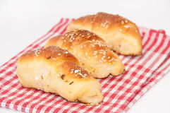 Homemade rolls on the kitchen clothe Stock Photography