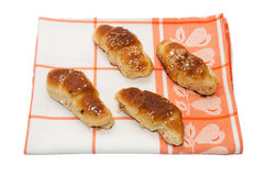 Homemade rolls on the kitchen clothe Royalty Free Stock Image