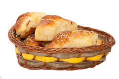 Homemade rolls in woven basket Stock Photo