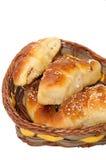 Homemade rolls in woven basket Stock Image