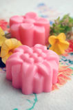 Homemade Rose Soap. Pink homemade floral rose soap royalty free stock images