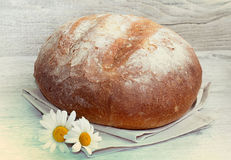 Homemade round bread on cloth with daisies on wood. Stock Photo