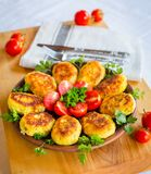 Homemade ruddy cheese and potato cutlets, decorated with fresh tomatoes and parsley, in ceramic plate on wooden board stock images