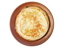Homemade russian pancake on white background. Homemade pancakes in a clay plate on a white background russian traditional blini breakfast food crepe maslenitsa stock images