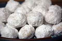 Homemade Russian Tea Cakes. These homemade snowball-looking cookies are a pure melt-in-your-mouth delight for the holidays royalty free stock photography