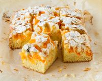 Homemade rustic apricot cake royalty free stock photography