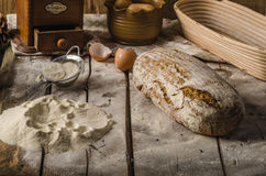 Homemade rustic bread, baked in oven Royalty Free Stock Image