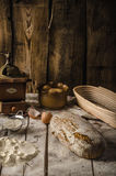 Homemade rustic bread, baked in oven Stock Photo