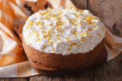 Homemade rustic cake with white icing closeup. horizontal Stock Photo