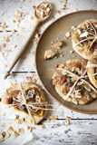 Homemade rustic gift cookies with bio figs and almond slices with seed Royalty Free Stock Photo