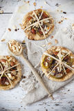 Homemade rustic gift vegan cookies with bio figs and almond slices with seed Stock Photography
