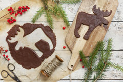 Homemade rustic gingerbread elk shaped cookie for Christmas Royalty Free Stock Images