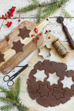 Homemade rustic gingerbread star shaped cookies for Christmas Royalty Free Stock Photos