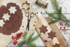 Homemade rustic gingerbread star shaped cookies for Christmas Stock Images
