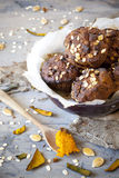 Homemade rustic muffins with pumpkin chocolate and oat flakes on bowl with burnt greaseproof paper Royalty Free Stock Photo