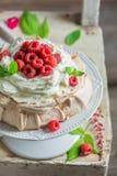 Homemade and rustic Pavlova dessert made of mascarpone and berries. Closeup of homemade and rustic Pavlova dessert made of mascarpone and berries stock photo