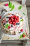 Homemade and rustic Pavlova dessert with raspberries and meringue Stock Photo