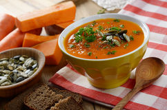 Homemade rustic pumpkin soup Stock Photos