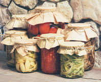 Homemade rustic vegetable canned food Stock Photo
