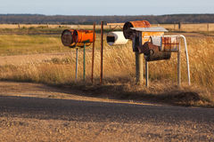 Homemade rusty steampunk mailboxes in Australia Royalty Free Stock Images