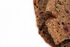 Homemade rye bread with cranberries isolated on white background. Healthy concept, copy spase. stock photo