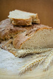Homemade rye bread. Loaf of homemade rye bread and ears of wheat royalty free stock photo