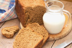 Homemade rye bread and milk Royalty Free Stock Image