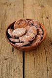 Homemade rye cookies with berries in clay bowl Royalty Free Stock Photo