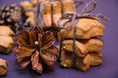 Homemade rye cookies star shaped stack tied with brown rope Royalty Free Stock Images