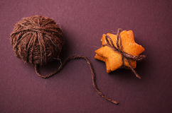 Homemade rye cookies star shaped stack tied with brown rope Stock Photo