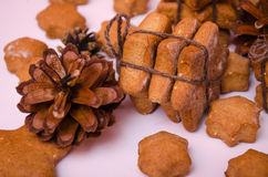 Homemade rye cookies star shaped stack tied with brown rope Stock Photography